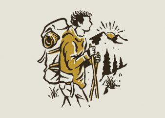 Hiker t-shirt design for sale