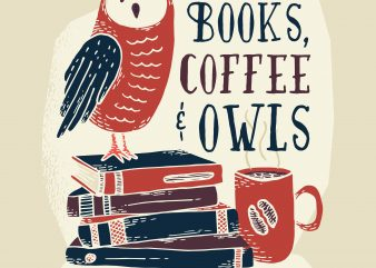 books coffee owl vector t-shirt design template