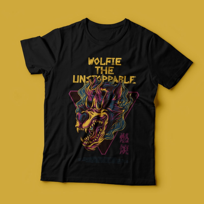 Wolfie the Unstoppable T-Shirt Design tshirt designs for merch by amazon