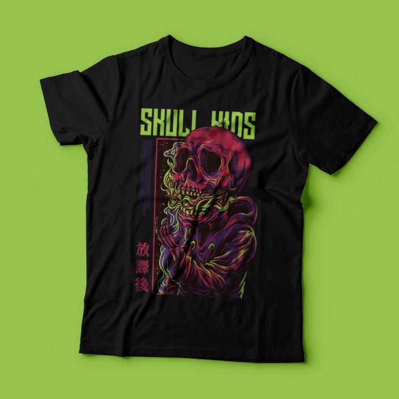 Skull Kids T-Shirt Design commercial use t shirt designs