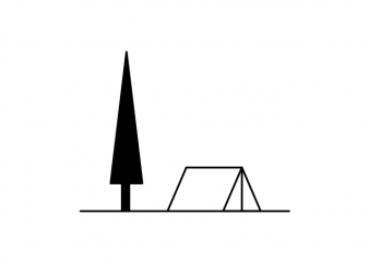 Camping tent with a tree minimal tattoo vector t shirt design