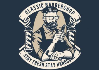 Classic Barber Shop vector t shirt design for download