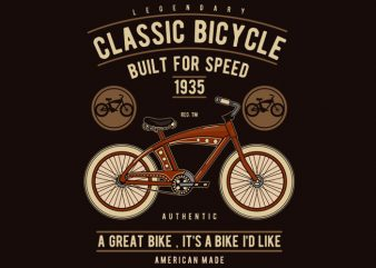 Classic Bicycle t shirt vector file