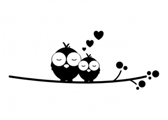 Cuddling birds couple real love valentines day vector t shirt printing design