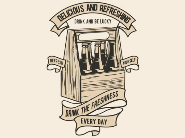 Drink The Freshness vector t-shirt design for commercial use