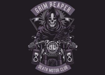 Grim Reaper Motorcycle vector t shirt design for download