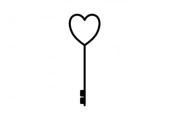 Key to the heart minimal love tattoo vector t shirt design