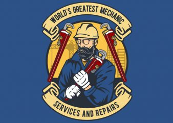Mechanic man print ready vector t shirt design