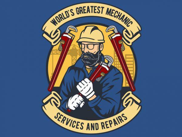 Mechanic man print ready vector t shirt design