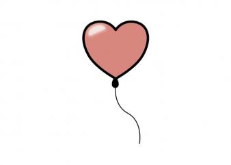 Minimal heart balloon valentines day love tattoo vector t shirt printing design
