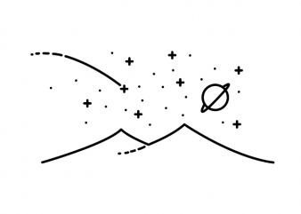 Minimalistic stars and mountains landscape tattoo t shirt printing design