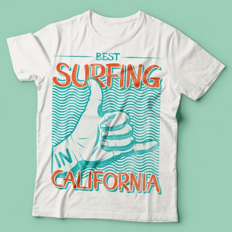 Best surfing in California. Vector T-Shirt Design t shirt designs for printify