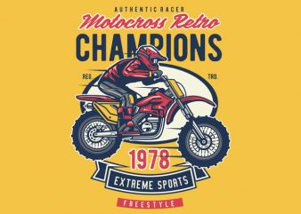 Motocross Retro Champion t shirt designs for sale