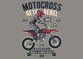 Motocross Retro Rebel tshirt design vector
