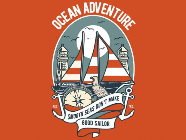 Ocean Adventure vector t-shirt design for commercial use