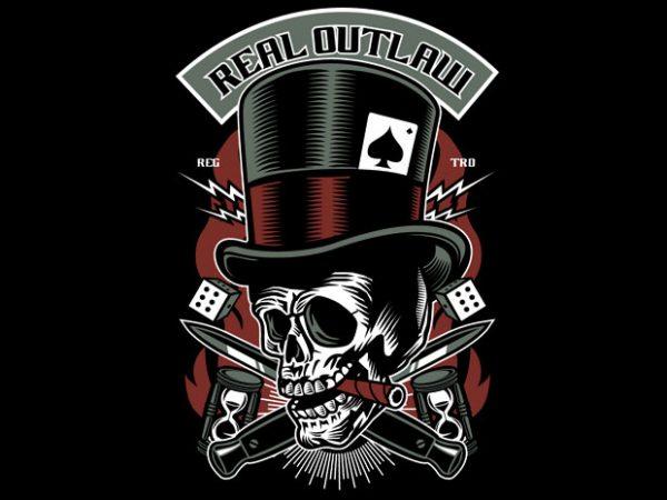 Real Outlaw Skull buy t shirt design artwork