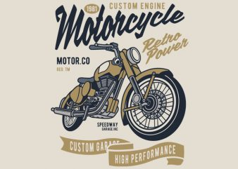 Retro Power Motorcycle graphic t-shirt design