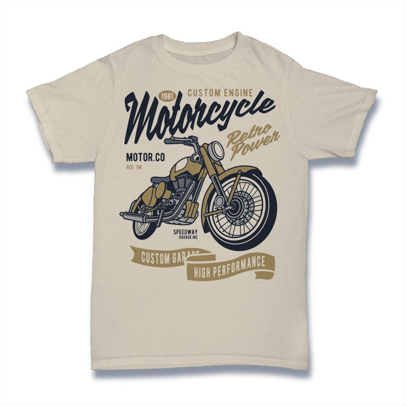 Retro Power Motorcycle t shirt designs for print on demand