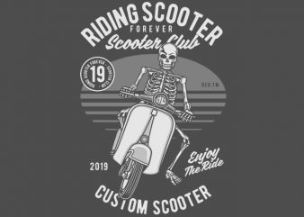 Riding Scooter vector t-shirt design