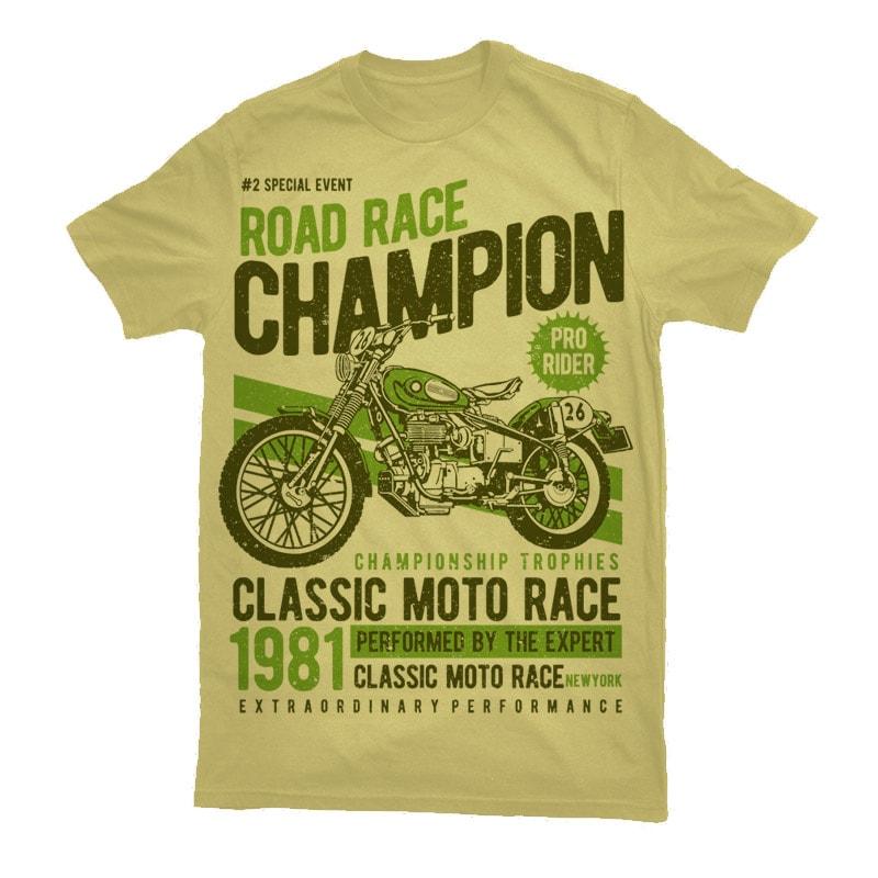 Road Race Champion Vector t-shirt design t shirt designs for sale