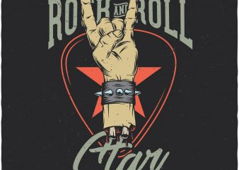 Rock and roll star. Vector T-Shirt Design