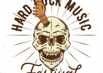 Hard rock music festival. Vector T-Shirt Design