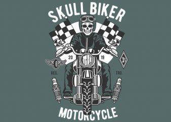 Skull Biker t shirt template vector
