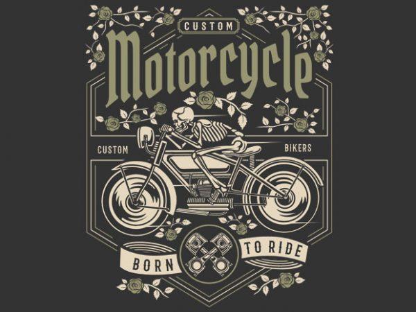 Skull Motorcycle vector t-shirt design