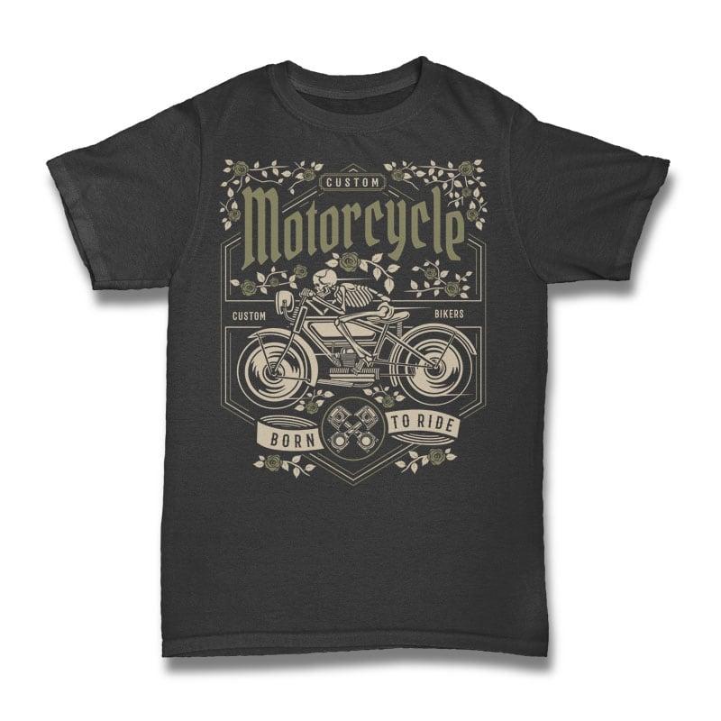 Skull Motorcycle t shirt design graphic