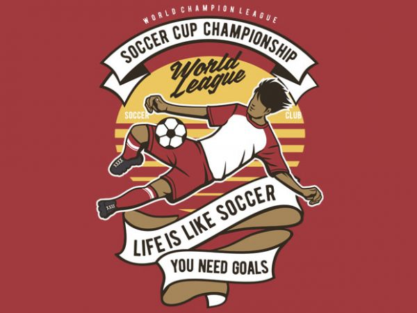 Soccer Cup Championship vector t shirt design for download