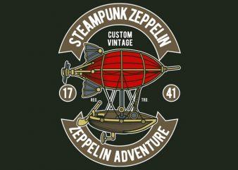 Steampunk Zeppelin tshirt design for sale