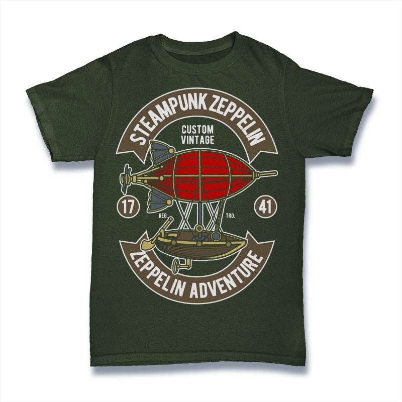 Steampunk Zeppelin t shirt designs for printify