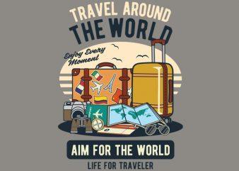 Travel Around The World t shirt design png