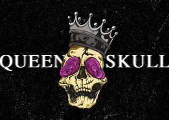 Queen Of Rose Skull Vector t-shirt design