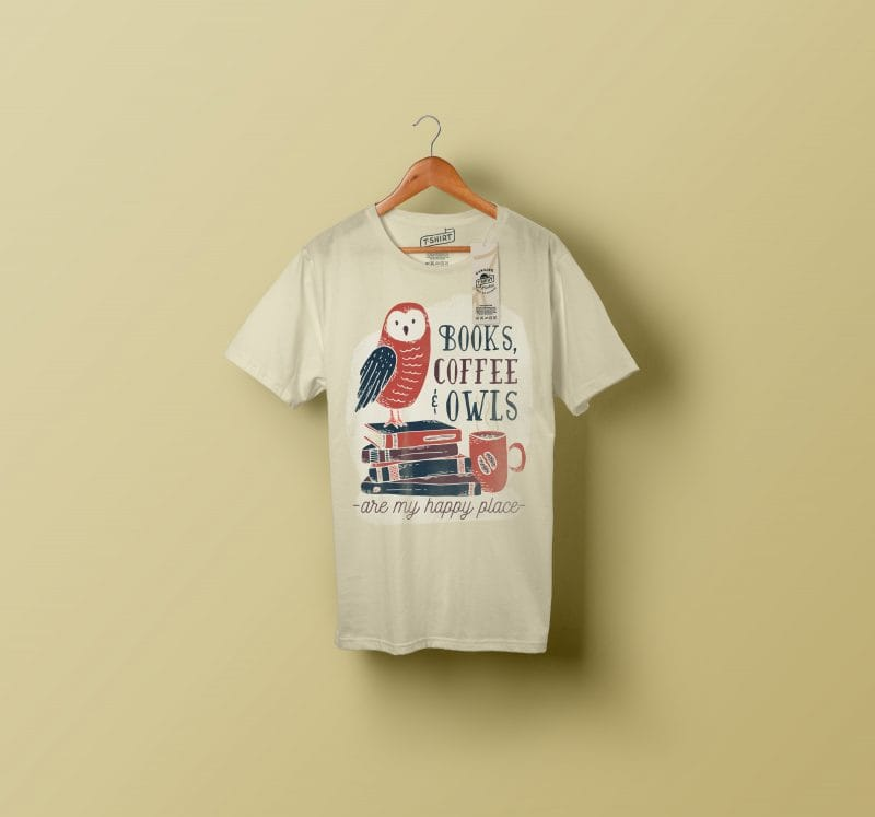 books coffee owl vector shirt designs