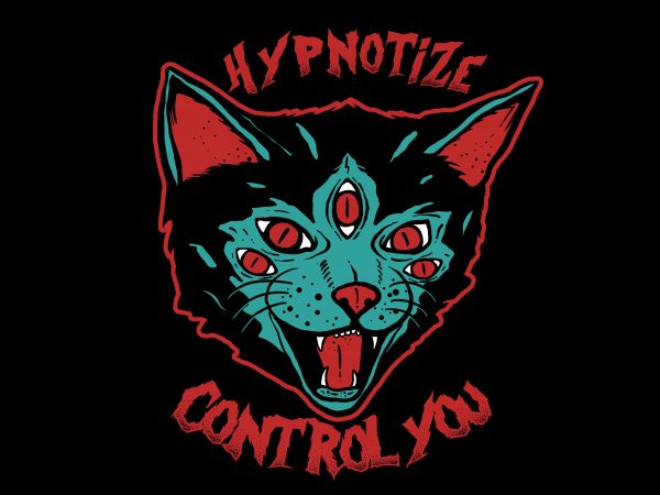 Cat Hypnotize t shirt design for purchase