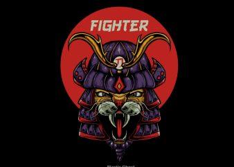 Cat Samurai t shirt design for download