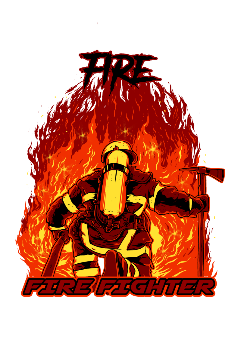 fire fighter print ready t shirt design