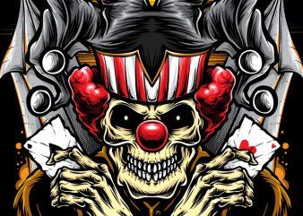 Gambler Clown t shirt design template