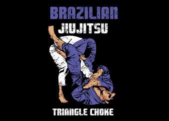 jiu jitsu triangle move commercial use t-shirt design