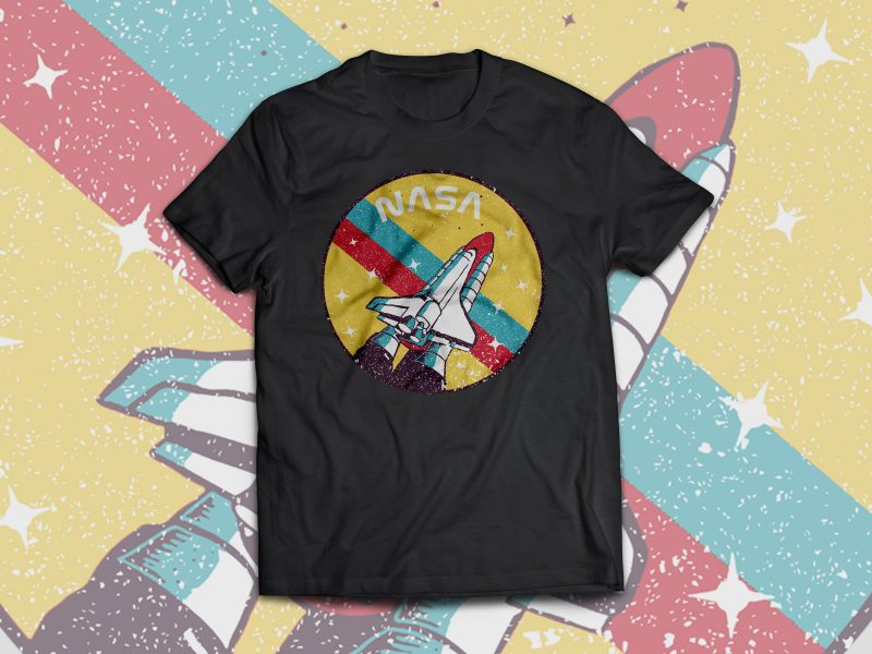 USA Space Agency Vintage t shirt designs for sale