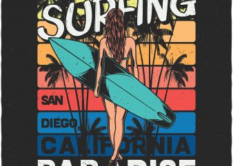 Surfing paradise. Vector T-Shirt Design