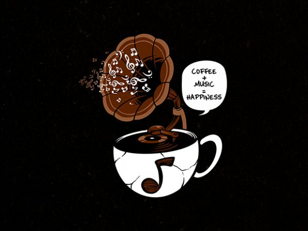coffee and music Graphic t-shirt design