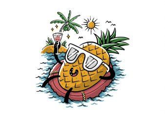 Pineapple Relaxing t shirt illustration