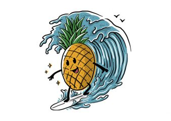 Pineapple Surfing t shirt design png