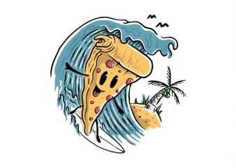 Pizza Surfing commercial use t-shirt design