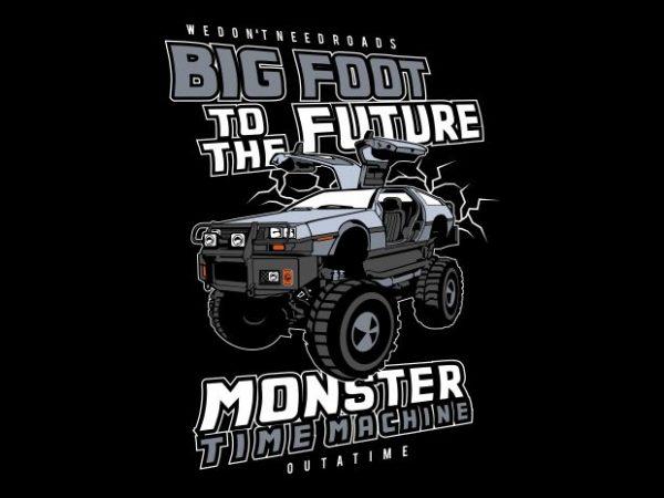 Big Foot To The Future tshirt design vector