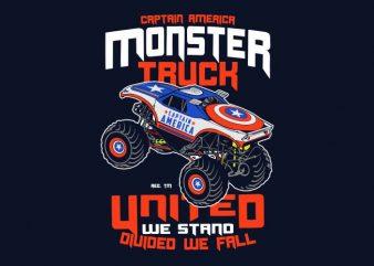 Captain America Monster Truck vector shirt design