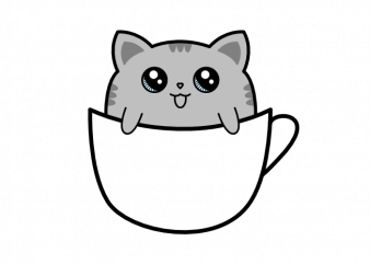 Cat sitting in a cup of coffee vector t shirt printing design