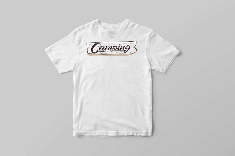 Hand drawn Camping shield outdoor shirt designs tshirt-factory.com